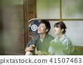คู่สามีภรรยาที่พูดถึงด้านข้างของบ้านส่วนตัว Jinpei Yukata เก่า 41507463