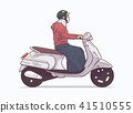 Illustration of woman riding motorbike, motorcycle 41510555