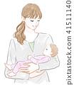 ผู้หญิงที่ถือครองทารก 41511140