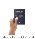 Passport book with hand holding, Identification  41513058