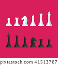 Black and White Chess piece vector icons set 41513787