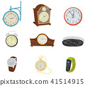 Flat vector set of retro and modern digital clocks, classic wristwatch, pocket watch and fitness 41514915
