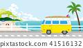 해안 길을 달리는 노란 미니 밴 41516132