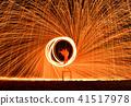 Fireman Show on beach swing fire sparks,Thailand 41517978