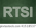 Stock market indexes concept: RTSI on chalkboard background 41518537