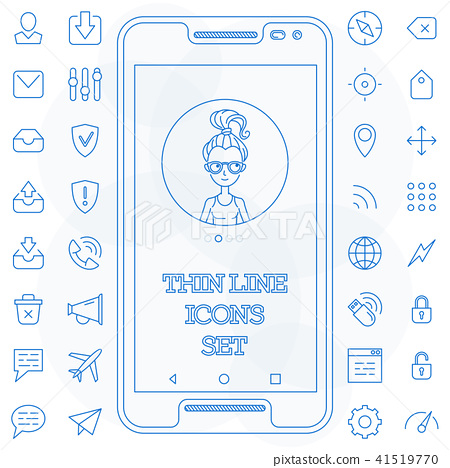 Thin line icons set basic 41519770