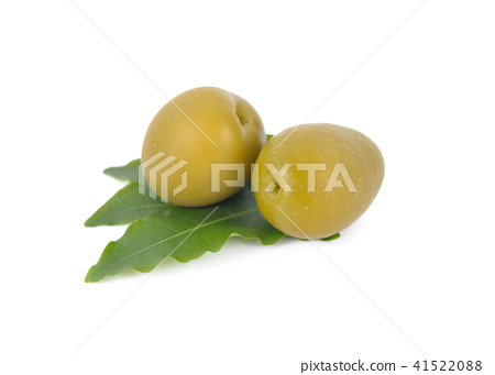 pickled olives with leaves on white background 41522088