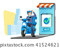 quick shipping a parcel around city by motorcycle. 41524621