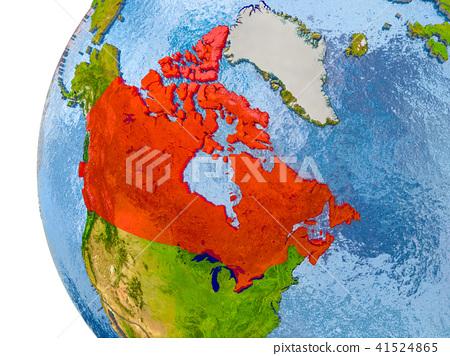 Map Of Canada On Globe.Map Of Canada On Model Of Globe Stock Illustration 41524865 Pixta