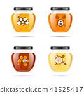 Realistic transparent glass jar with honey. Food bank. Honey packaging design. Honey logo. Mock up 41525417