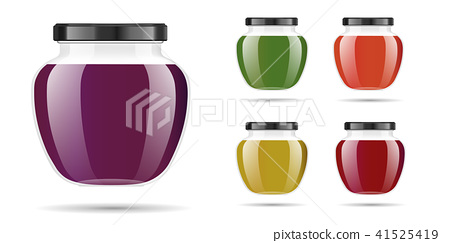 Realistic transparent glass jar with jam, confiture or sauce. Preserving packaging set. Label and 41525419