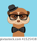 Meerkat boy portrait with glasses, hat and bow tie. Vector illustration. 41525438