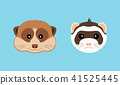 Cute ferret and meerkat muzzle. Vector flat design illustration. 41525445