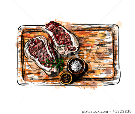 Pieces of meat on a cutting board 41525836