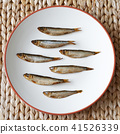 smoked sprats on plate 41526339
