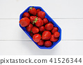 topview of strawberries on white wooden table 41526344