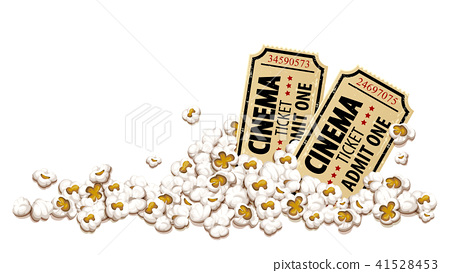 Cinema tickets for movie theater popcorn vector 41528453