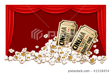 Movie theater hall and tickets in popcorn. 41528454