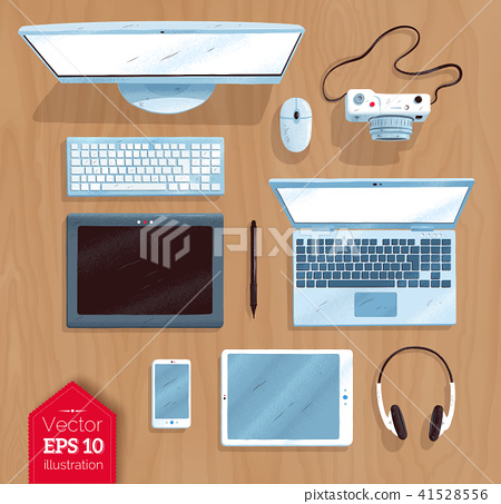 Top view vector illustration set of digital devices 41528556
