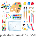Top view vector illustration set of artist workplace  41528559