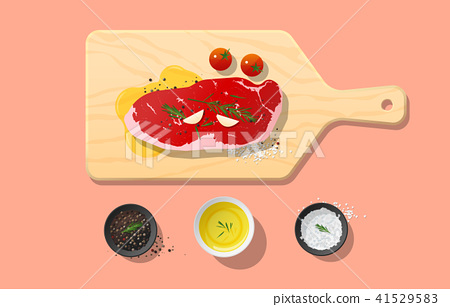 Fresh raw beef, strip loin steak and spices 41529583