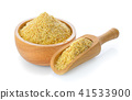 Wheat germ in wood bowl and scoop  41533900