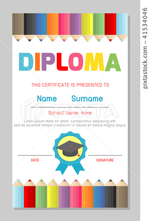 certificates kindergarten and elementary diploma stock