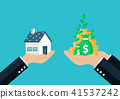 House is Money. Hand holding exchanging House 41537242