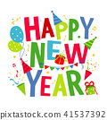 Happy New Year Text Cartoon Vector 41537392