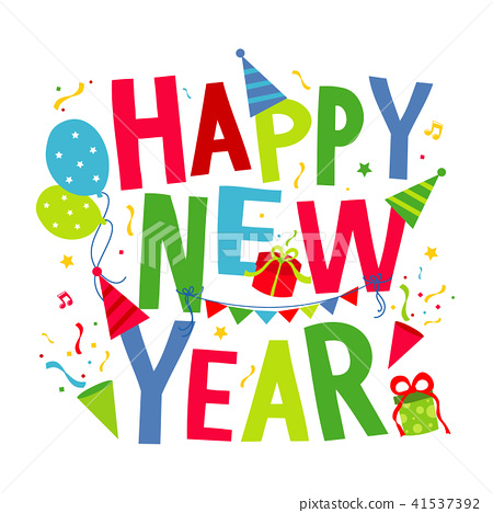 happy new year text cartoon vector