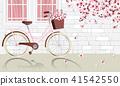 Vintage bicycle parking beside wall 41542550