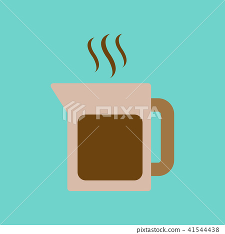 flat icon on background coffee machine maker - Stock Illustration