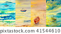 Watercolor painting seascapes at different time. 41544610