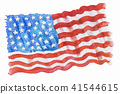 Flag of America, Hand-drawn, Watercolor painting. 41544615