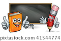 Book and Pencil Mascots and Blackboard 41544774