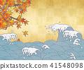 日本現代風景(波浪,金箔,秋葉,秋天) 41548098