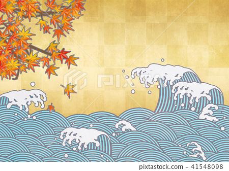 일본 현대적인 전망 (파도, 금박, 단풍, 가을) 41548098