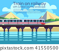 Train on railway with outdoor country landscape. Vector travel concept background 41550500