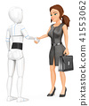 3D Humanoid robot shaking hand with business woman 41553062