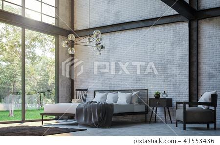 Loft style bedroom 3d render 41553436