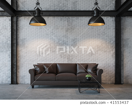 Loft style living room 3d render 41553437