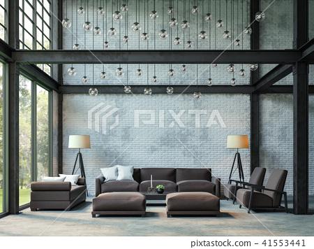 Loft style living room 3d render 41553441