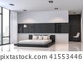 Modern black and white bedroom 3d render 41553446