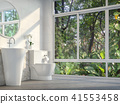 Modern toilet with nature view 3d render 41553458