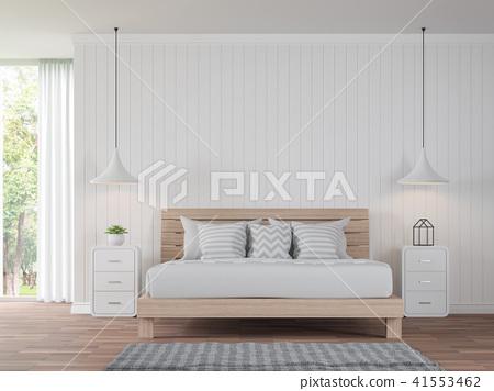 Modern white bedroom vintage Style 3d render 41553462