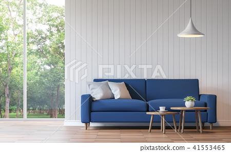 Modern white living room vintage style  3d render 41553465