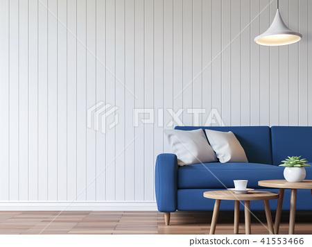 Modern white living room vintage style  3d render 41553466