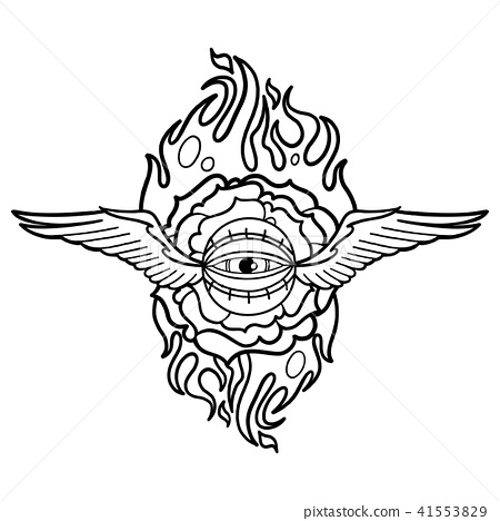 Graphic Flaming Flower And Winged All Seeing Eye