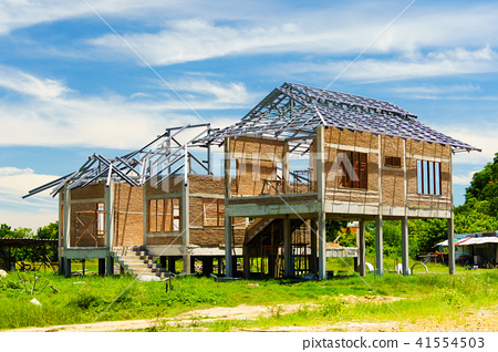 New residential construction house framing against 41554503