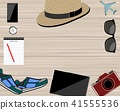 Flat lay traveler accessories on background  41555536
